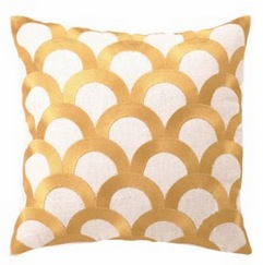 yellow scales scalloped pillow