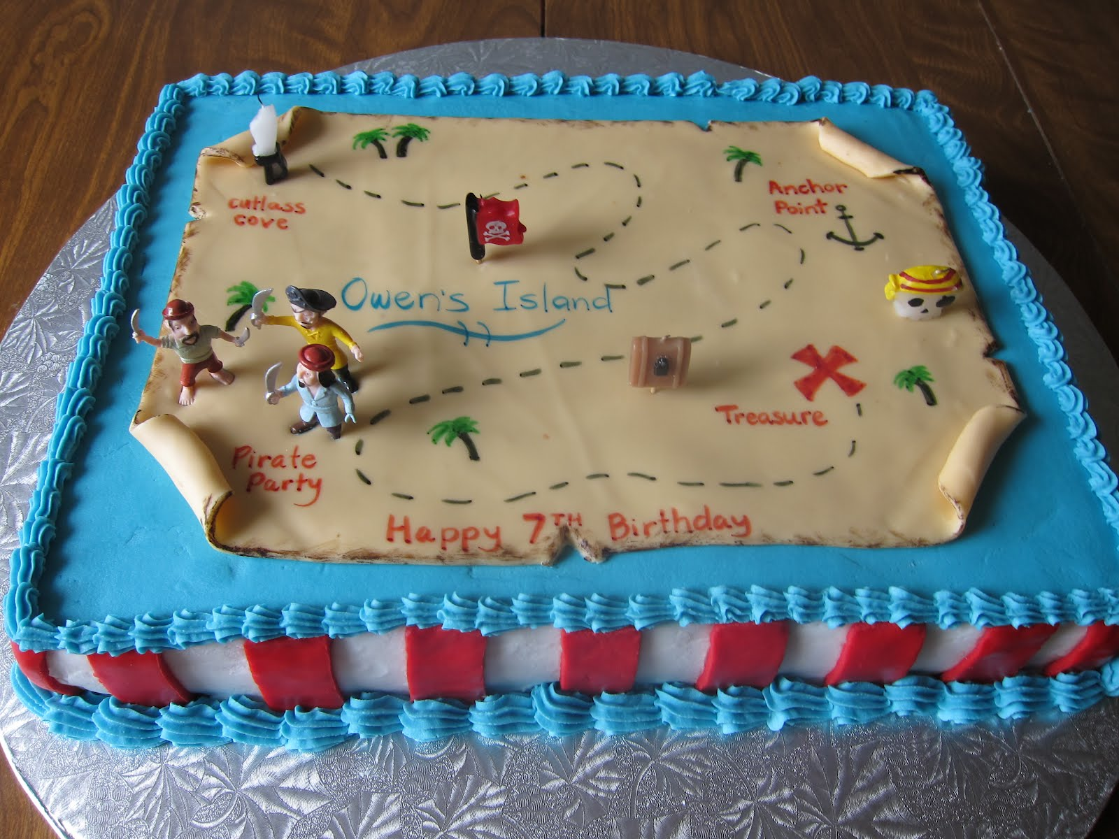 grateful for the ride pirate treasure map cake