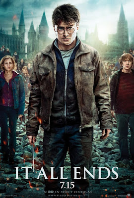 "Harry Potter and the Deathly Hallows: Part 2 ""It All Ends"" Character Movie Poster Set - Emma Watson as Hermione Granger, Daniel Radcliffe as Harry Potter & Rupert Grint as Ron Weasley"