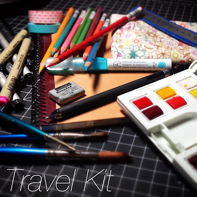 Art supplies for traveling. Watercolor paints, pencils, markers, pens.