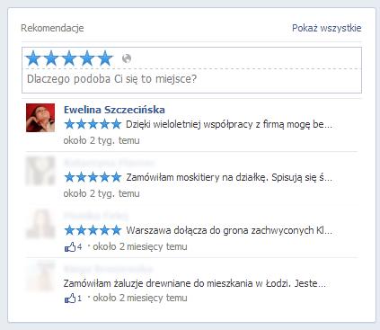 Rekomendacje na Facebooku