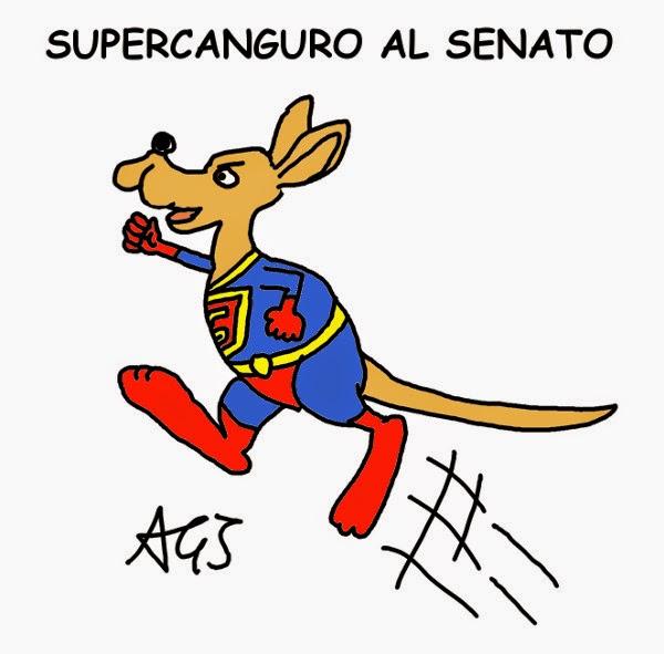 Italicum, supercanguro, senato, riforme, vignetta satira