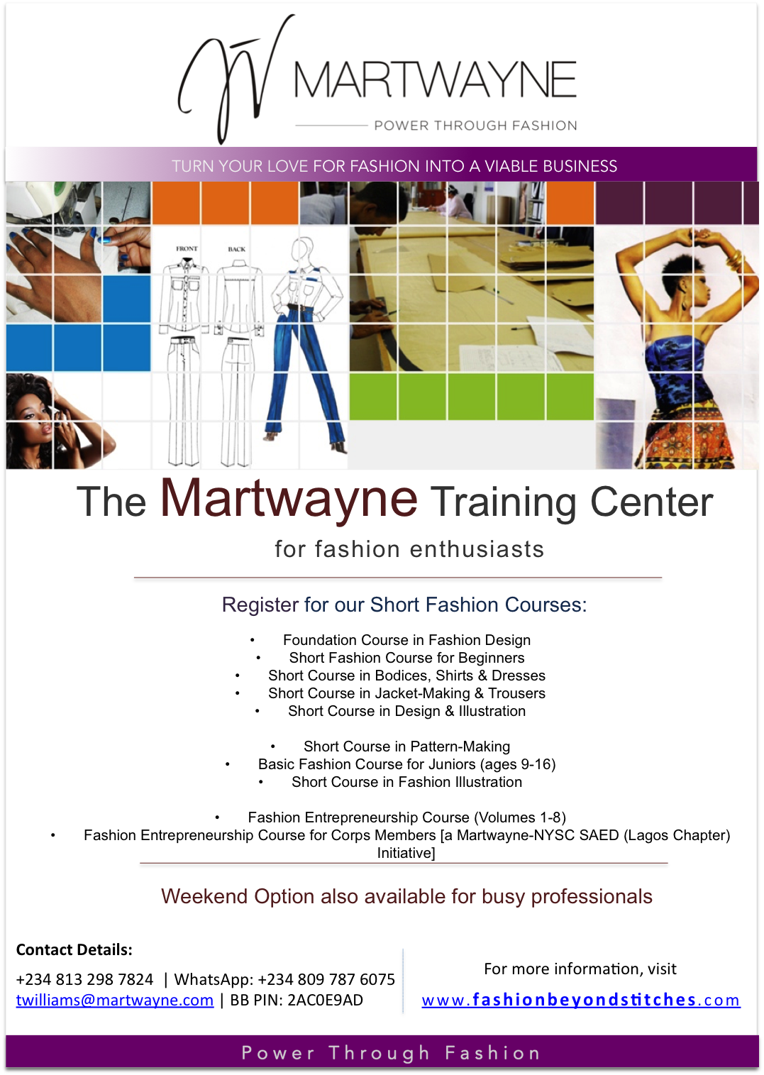 Fashion Courses at Martwayne. Click on image for more details.