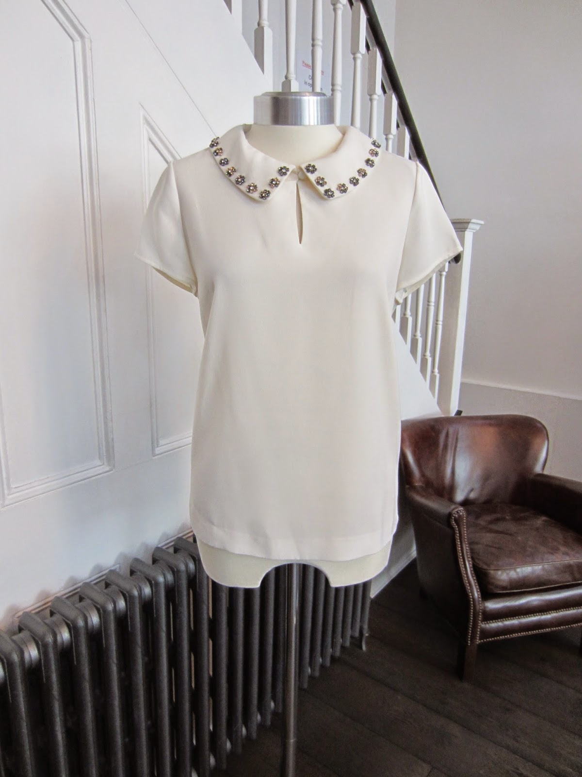 Jaeger Boutique Cream top with Jewelled Collar
