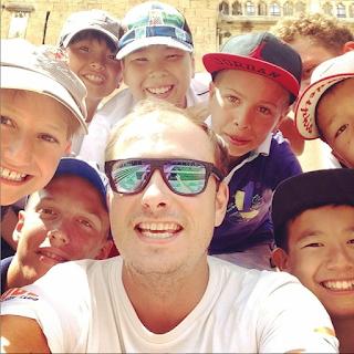 Tube Swim Club head coach Alexi Pilipaka and some of his Kazakhstani students