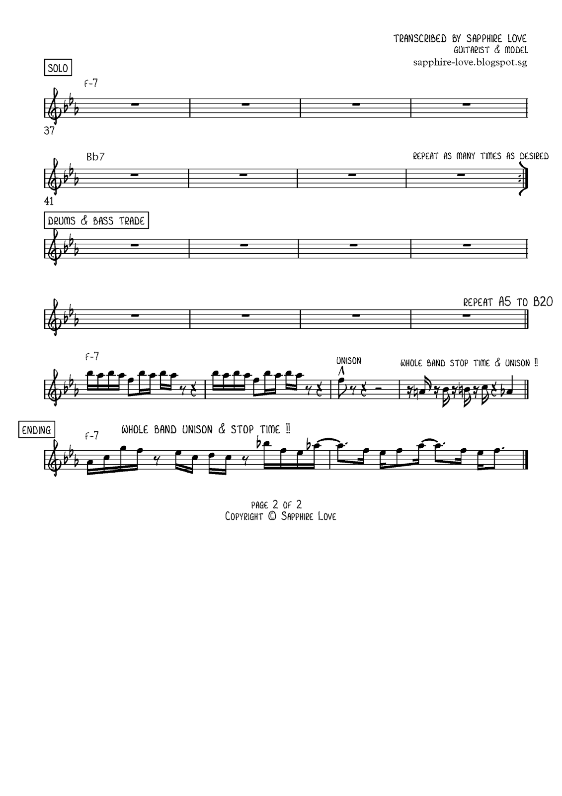 Sapphire Ng Pick Up The Pieces Guitar Tabs And Music Score Candy