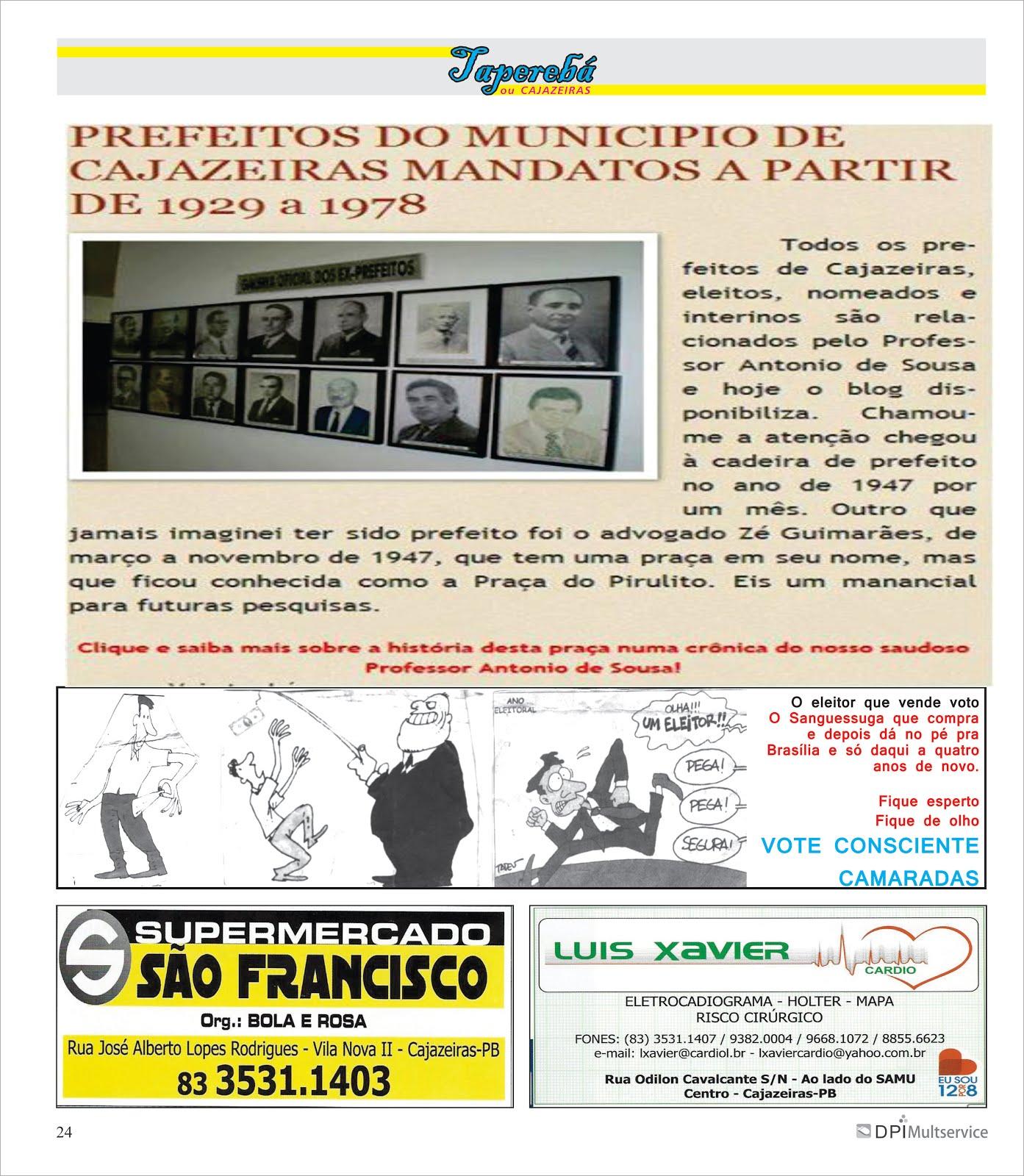 GRANDE JORNAL DO ESTADO HOMENAGEIA   COM A GALERIA  DE TODOS  OS PREFEITOS DE CAJAZEIRAS PB