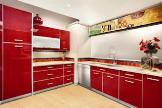 2011 modern red kitchen cabinets