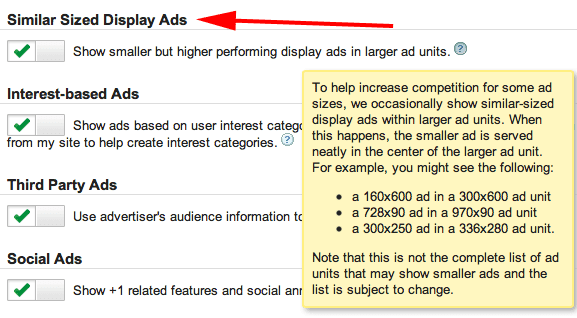 Adsense Similar Size Ads Setting