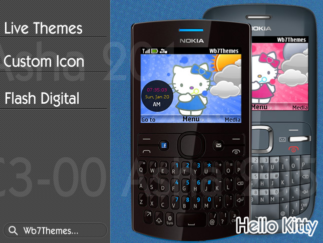 Hello Kitty theme C3-00, X2-01, Asha 200, 201, 205, 302