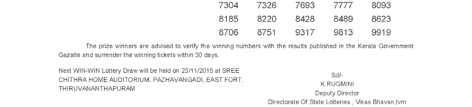 WIN WIN Lottery W 334 Result 16-11-2015