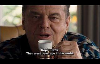 Jack Nicholson coffee, drink kopi luwak, Oprah Winfrey show, luwak civet