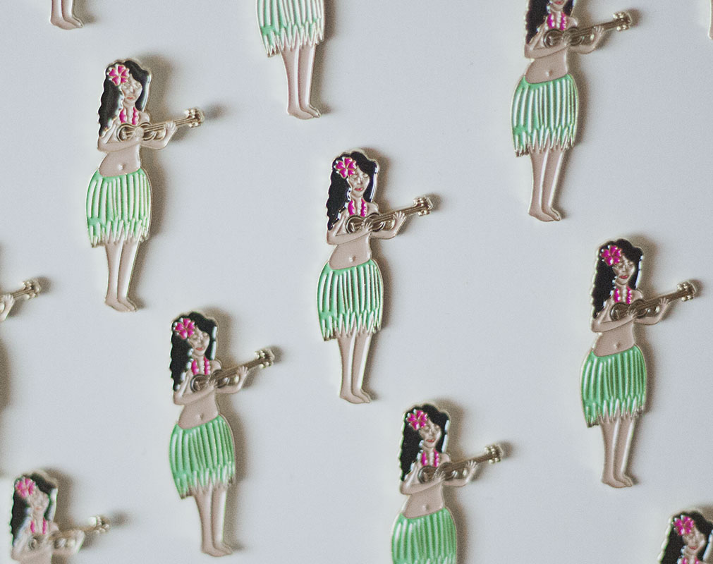 Hula girl enamel pin
