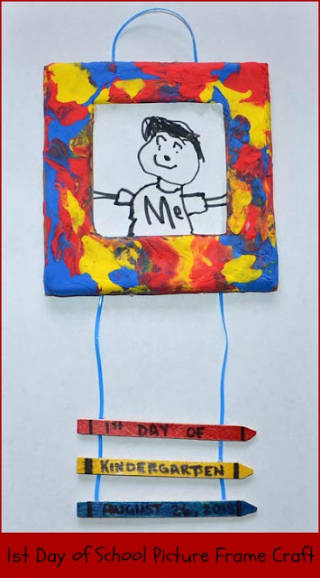 1st Day of School Picture Frame Craft - add a photo from the day in place of the drawing