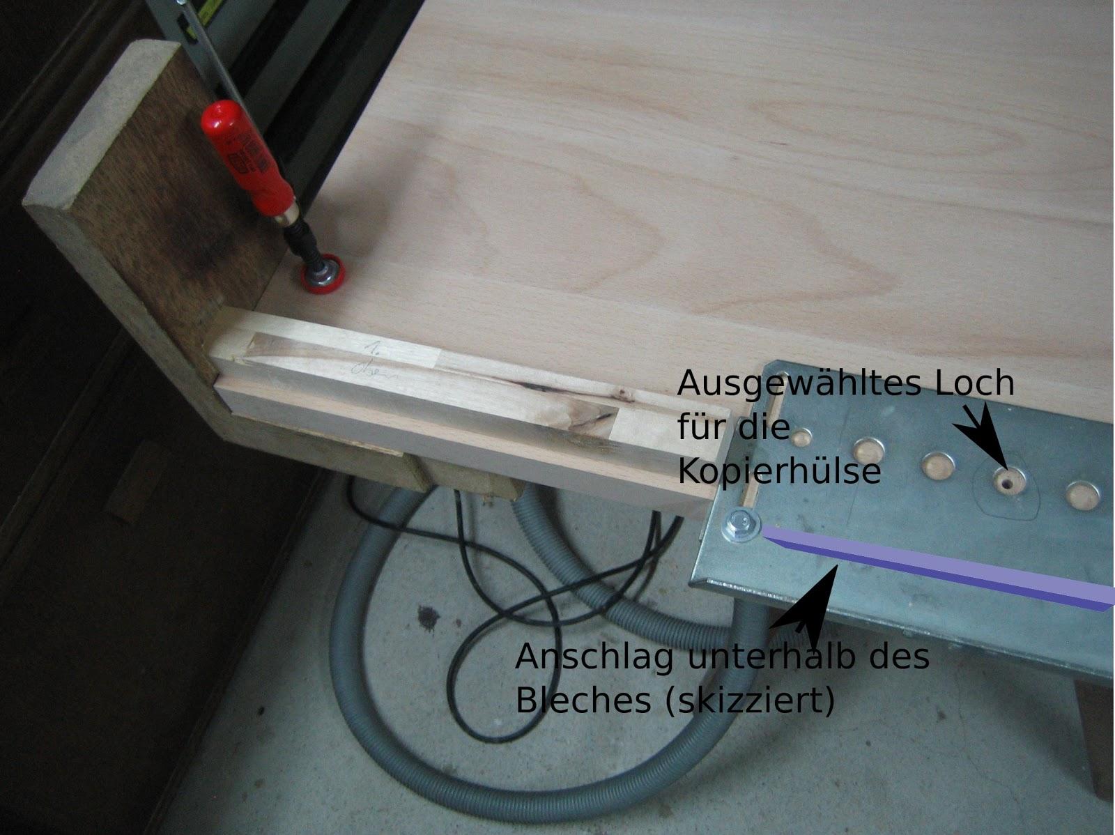 Löcher für Bodenträger exakt von zwei Seiten bohren | Werkraum