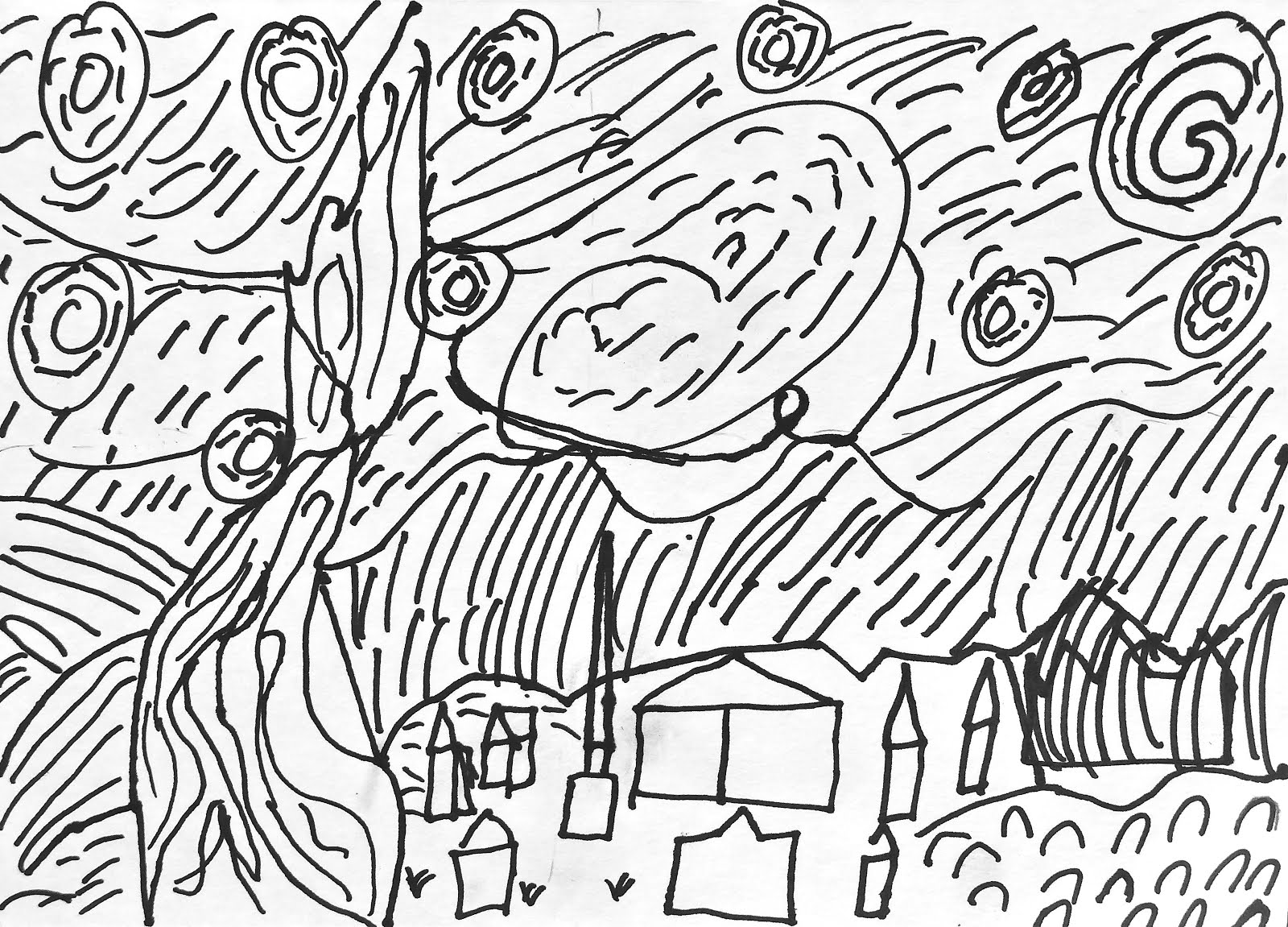 Free Coloring Pages Of Van Gogh Starry Night Starry Coloring Page Gogh