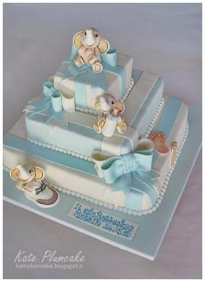 battesimo con elefantini - christening cake with elephants