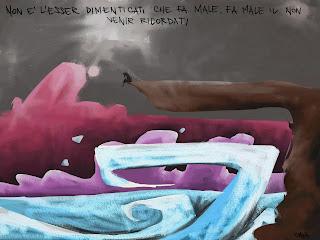 Gava gavavenezia vignette satira solo dimenticare mare tempesta nuvole roccia precipizio