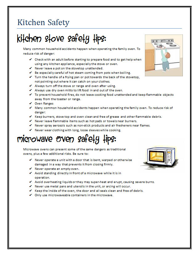 worksheets kitchen safety images reverse search. Black Bedroom Furniture Sets. Home Design Ideas