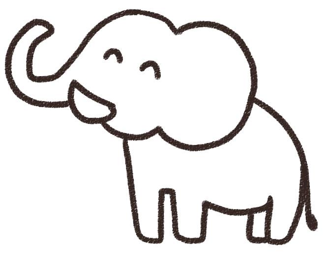 象のイラスト(動物) 白黒線画