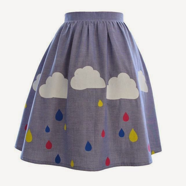 Ma Bicyclette - Buy Handmade - Clothing For Women - AMY LAWS - Rainy Day Cloud Raindrop 50's Skirt
