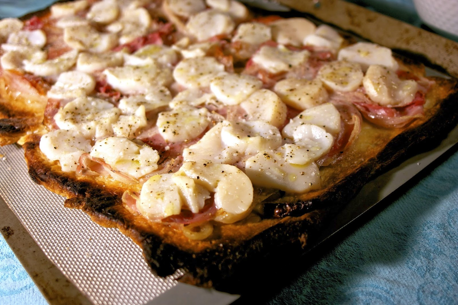 scallop pancetta & onion tart- simplelivingeating.com