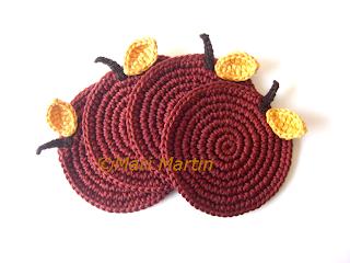 Crochet Coasters Cinnamon Apples