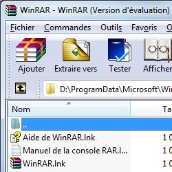 capture d'écran de WinRAR