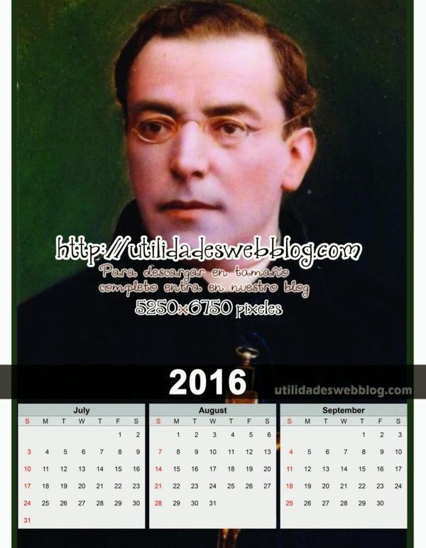 Calendario católico trimestral 2016 Julio Agosto y Septiembre para imprimir de Jose Antonio Plancarte y Labastida