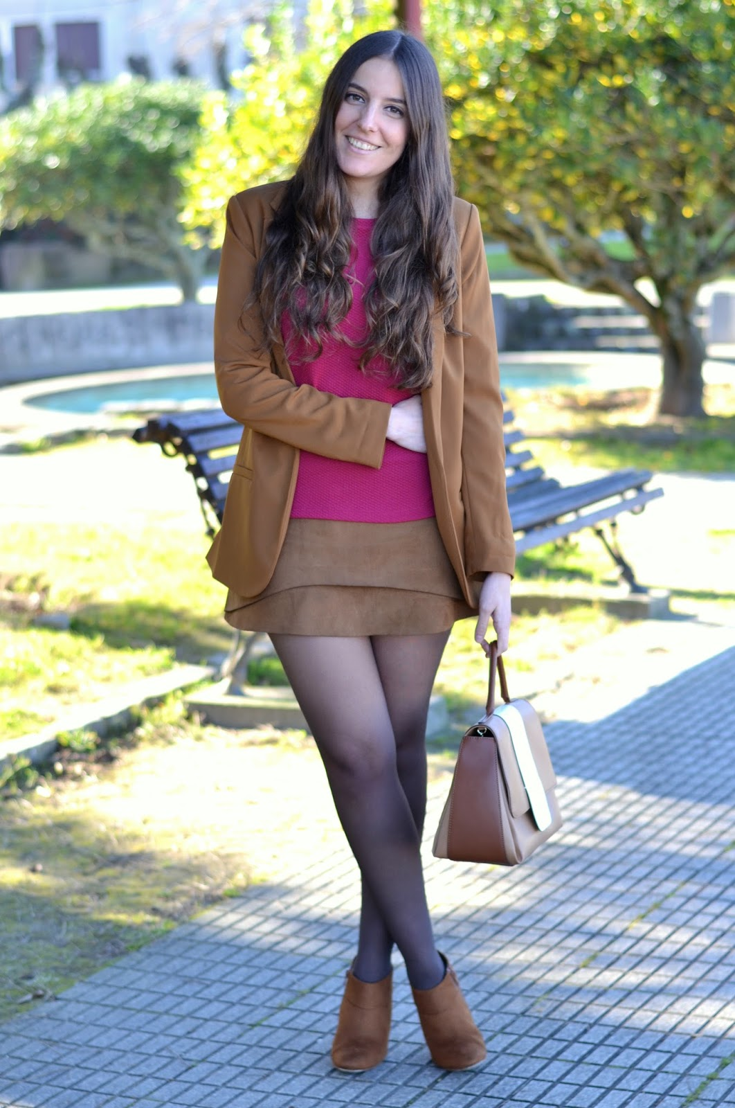 brown blazer, suede skirt, magenta shirt