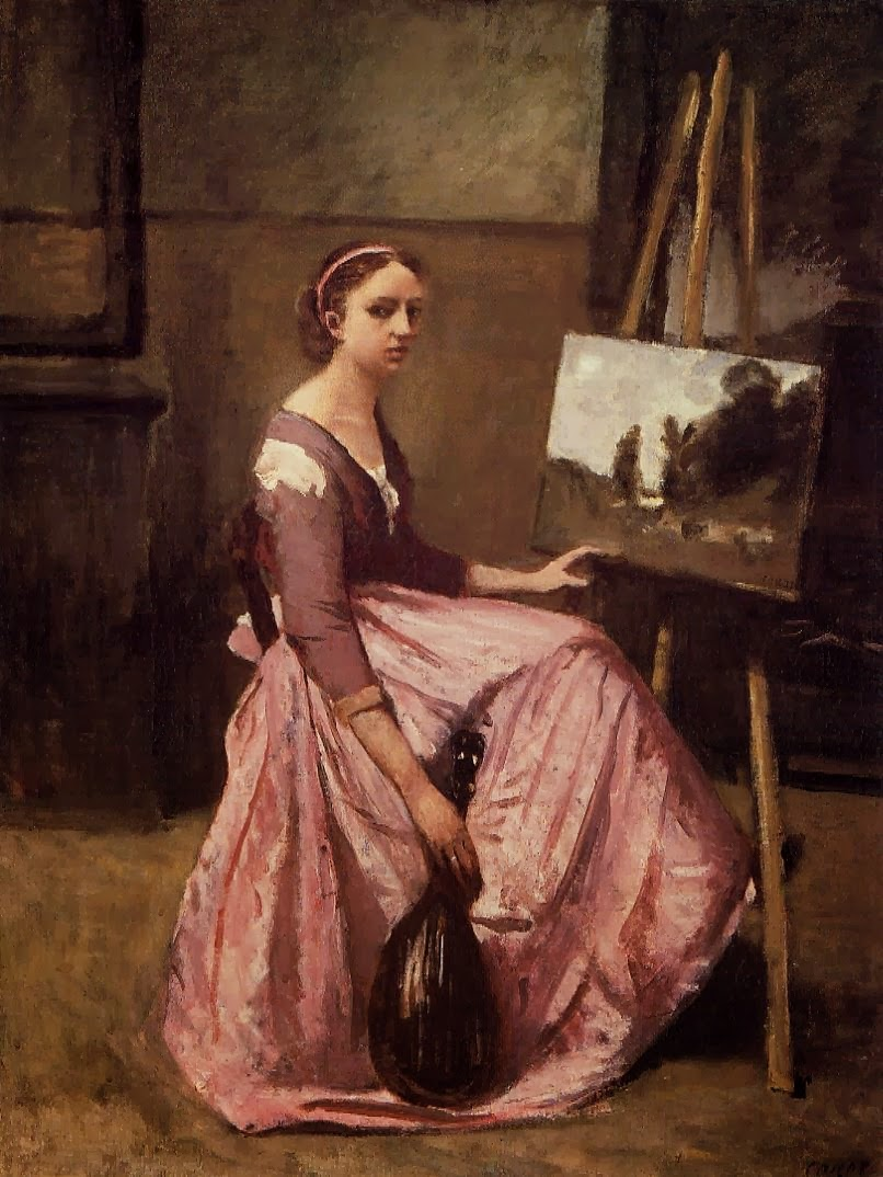 L'atelier de Corot ou Jeune Femme dans une robe rouge, assis devant un chevalet, tenant un mandoline, ca. 1860