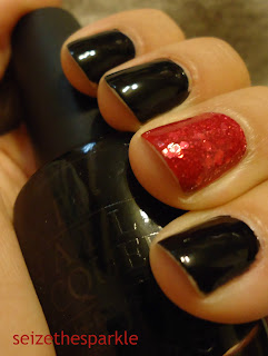 Black & Hot Pink Accent Manicure