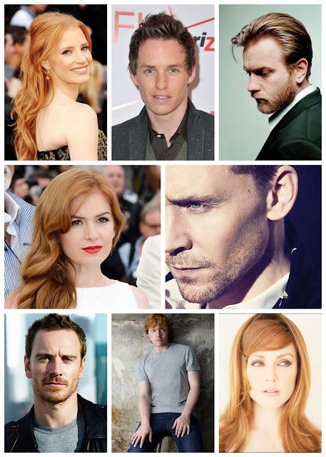 Red hair: Jessica Chastain, Eddie Redmayne, Ewan McGregor, Isla Fisher, Tom Hiddleston, Michael Fassbender, Rupert Grint, Julianne Moore