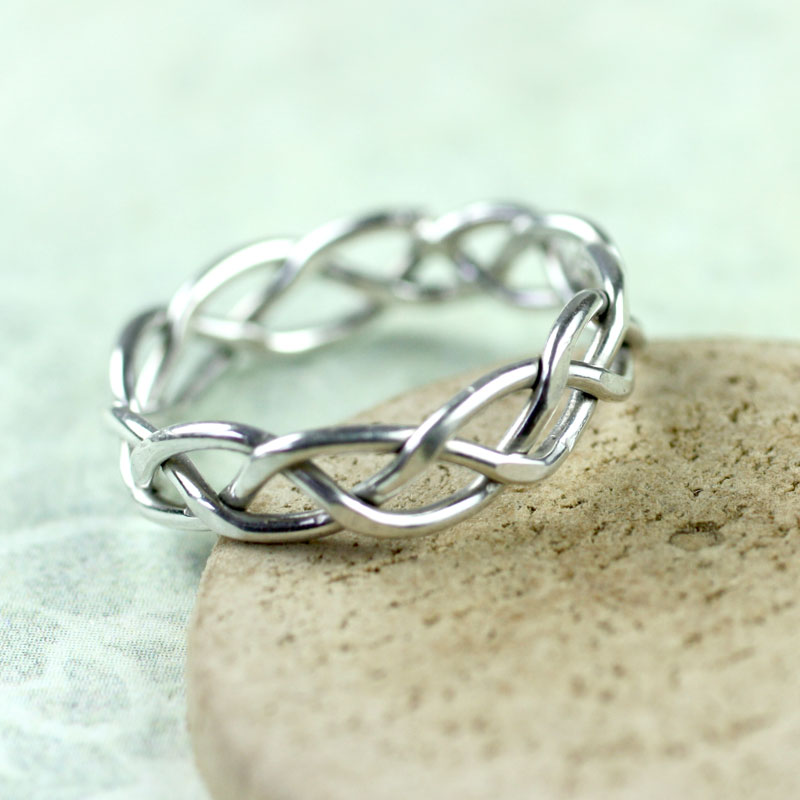 silver wire ring in celtic braid entwined for eternity