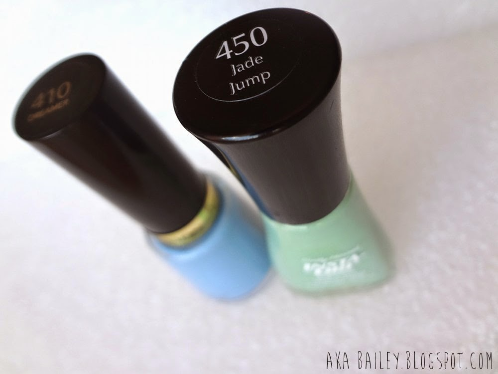 Dreamer by Revlon and Jade Jump by Sally Hansen, blue and mint pastel nail polishes