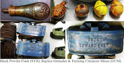 Black Powder Flask – 5 ounces of black powder in a small flask was discovered at Syracuse (SYR). Even an amount as small as 5oz of black powder in a small container can cause a significant explosion.  Replica Grenades and Mines – Four replica grenades and two replica Claymore mines were discovered in checked baggage at Guam (GUM). I know I've said it over and over, but for anybody who may be new to reading this post, we realize that replicas are totally harmless, however, we don't know that until we've gone through all of the motions. Read here and here for more information on why inert items cause problems at checkpoints.