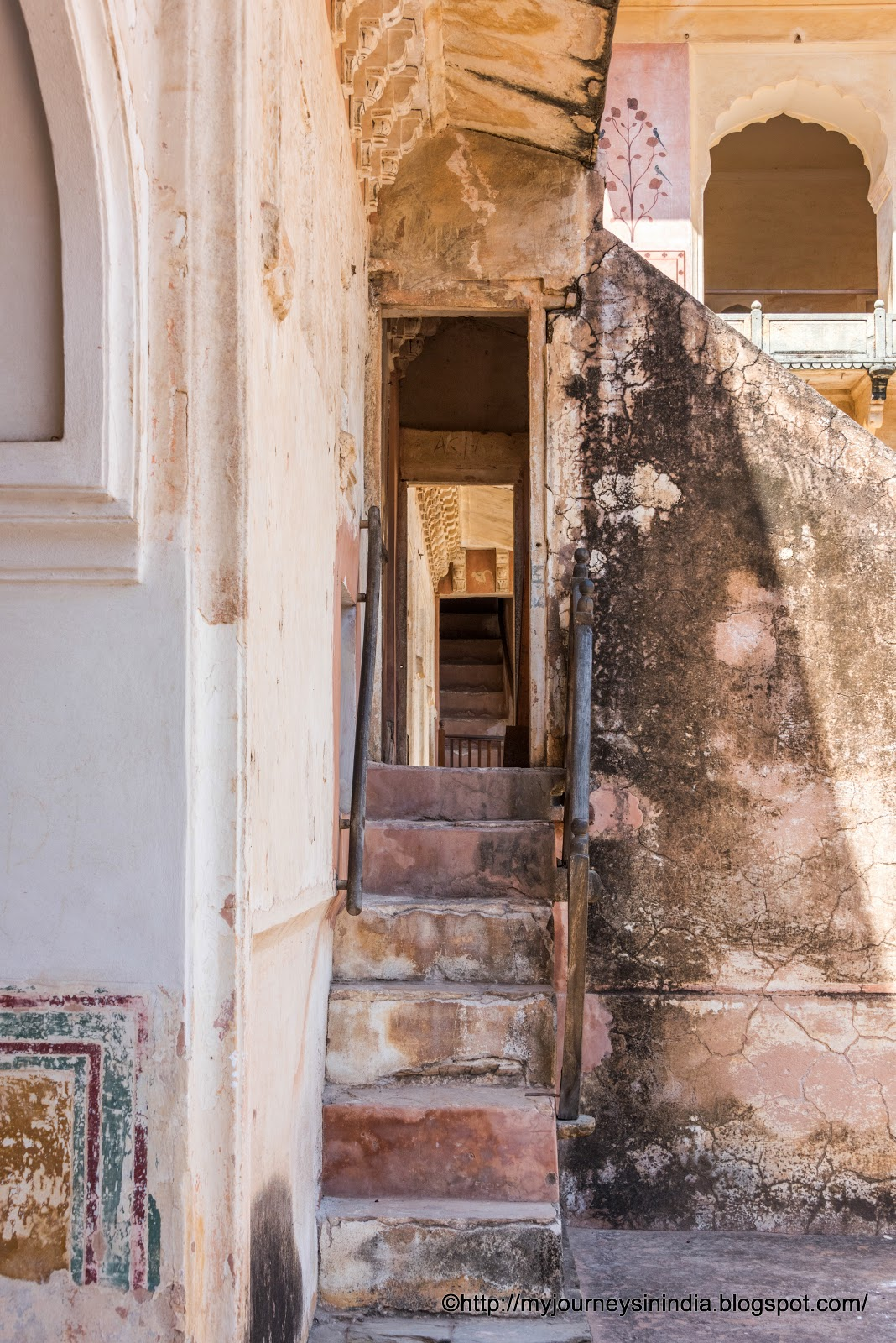 Narrow staircase in Amer Fort Jaipur