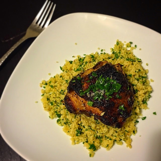 Hard Parade: Spiced Chicken Thighs with Lemon-Parsley Couscous