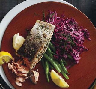 Dill and Mustard Salmon With Beetroot Slaw