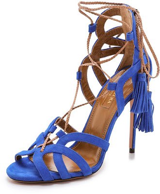 Aquazzura blue lace-up high heeled stiletto sandals with tassel