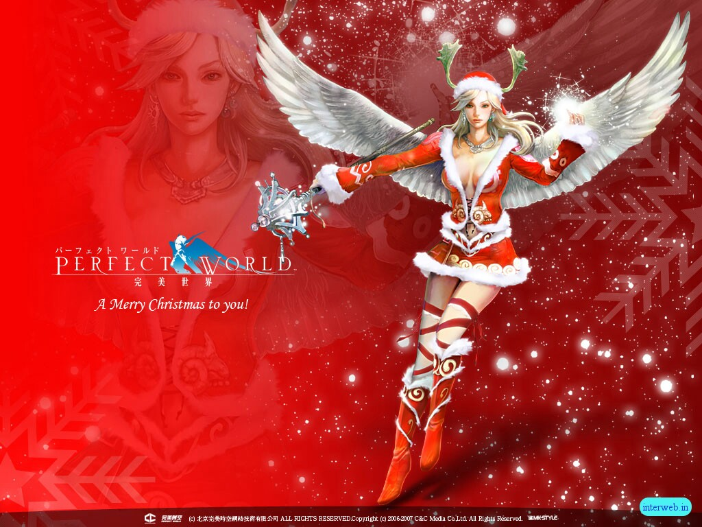 Christmas Red Angel Background Wallpapers