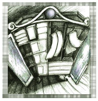 Ilustración sobre un armario con las dos puertas abiertas