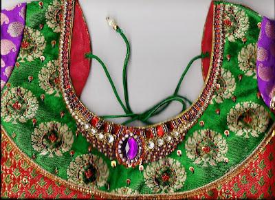 blouse kundan designs