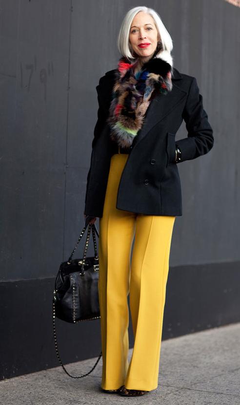 White hair and yellow trousers grey hair women pinterest