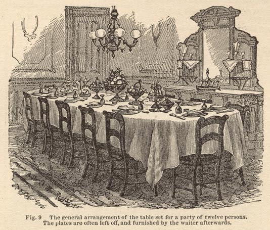 A Modestly Set Victorian Dinner Party Table For 12 Persons To Make Remarks Upon The Guests Or Dishes Is Excessively Rude