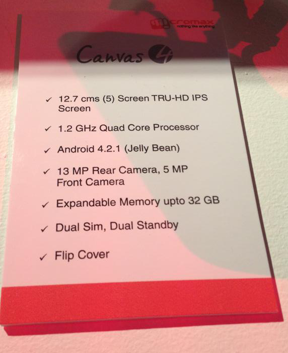 Micromax+Canvas+4+official+complete+specs-sheet