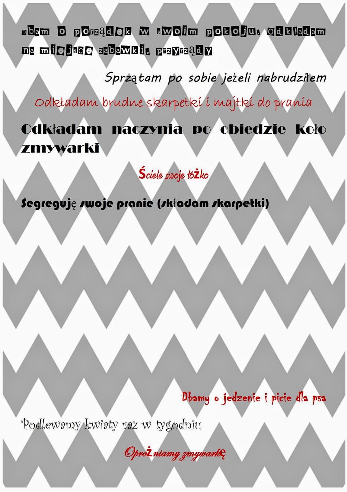 plakat obowiązki dla dzieci