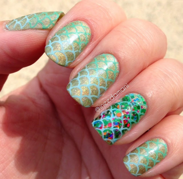 gradient nail stamping glitter mermaid nails