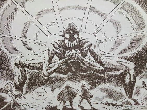 映画・コミックに現れる巨神兵が決まったデザインになるのは、コミック版の後期、オーマの登場からであり、それまでは宮崎駿監督も認めているように、描か