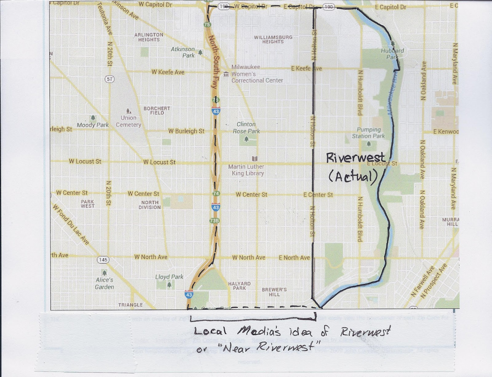referred to this location as near riverwest i m not familiar with the near riverwest neighborhood can anyone show me this on the attached map